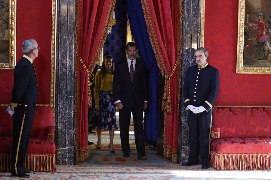 La reine Letizia et le roi Felipe VI d'Espagne au Palais royal à Madrid, le 20 novembre 2017
