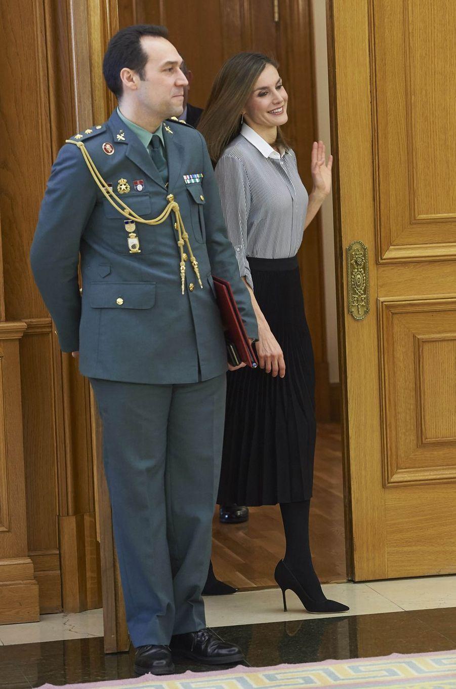 La reine Letizia d'Espagne au Palais de la Zarzuela à Madrid, le 15 février 2017