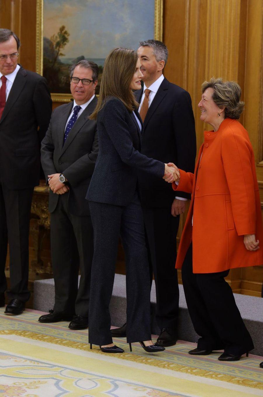 La reine Letizia d'Espagne à Madrid, le 16 mars 2017