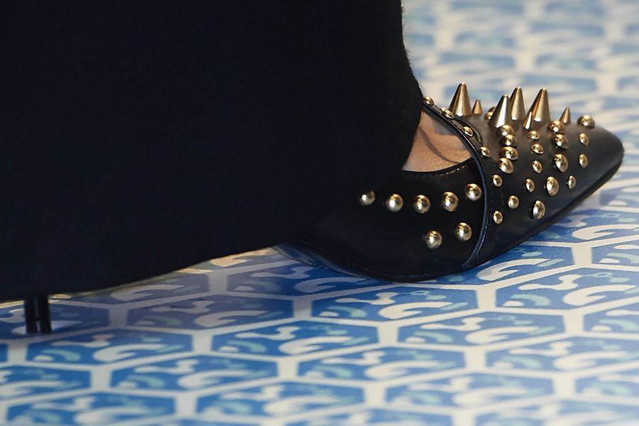 Les chaussures à clous de la reine Letizia d'Espagne à Madrid, le 17 janvier 2018