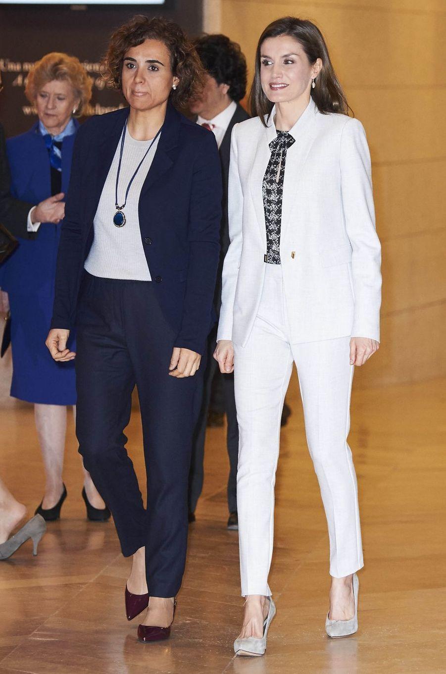 La reine Letizia d'Espagne au Musée du Prado à Madrid, le 2 mars 2017