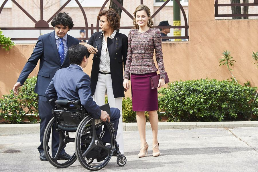 La reine Letizia d'Espagne à Madrid, le 21 mars 2017
