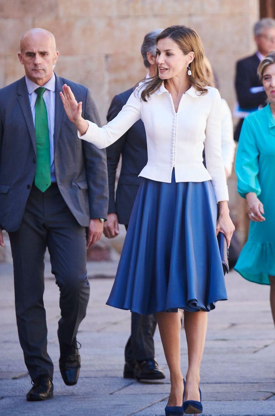 La reine Letizia d'Espagne à Salamanque, le 14 septembre 2017