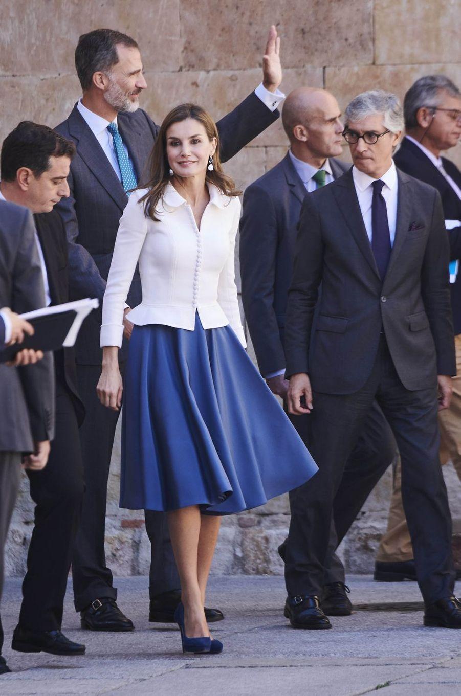 La reine Letizia et le roi Felipe VI d'Espagne à Salamanque, le 14 septembre 2017