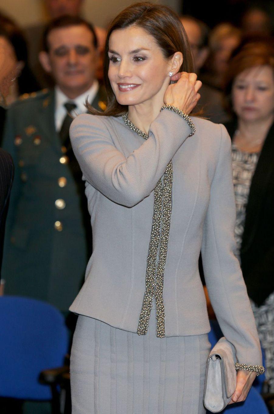 La reine Letizia d'Espagne au Museo Casa de la Moneda (musée de la Monnaie) à Madrid, le 20 janvier 2017