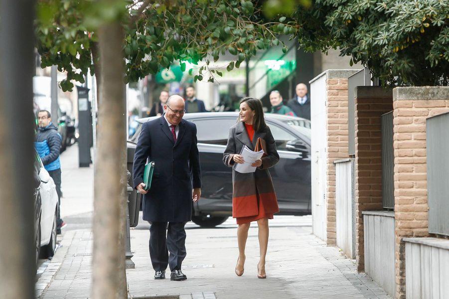 La reine Letizia d'Espagne se rend à une réunion à Madrid, le 14 février 2018