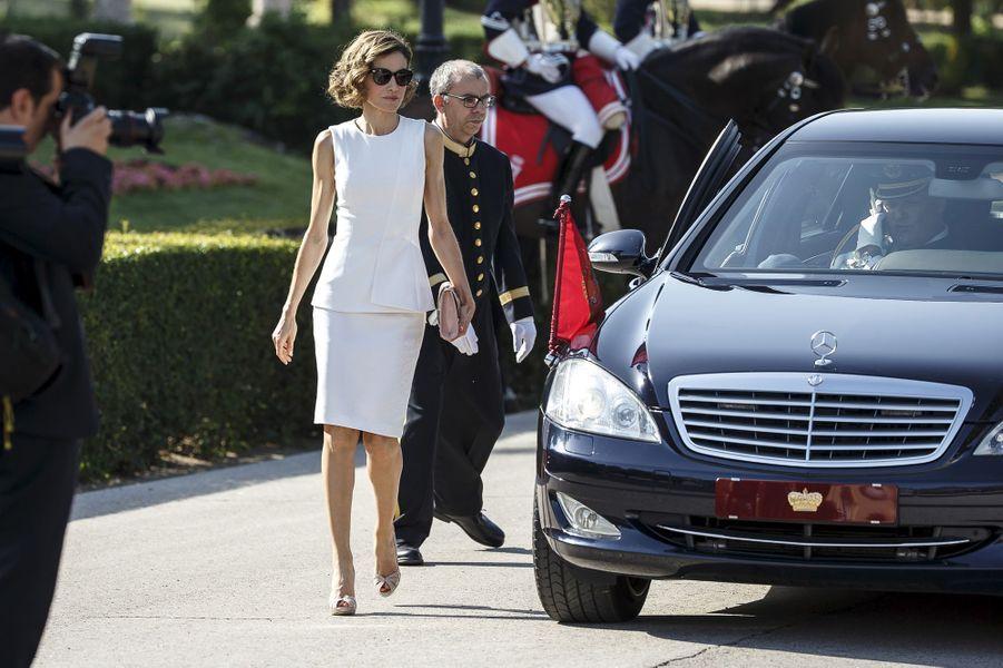 La reine Letizia d'Espagne à Madrid, le 7 juillet 2015