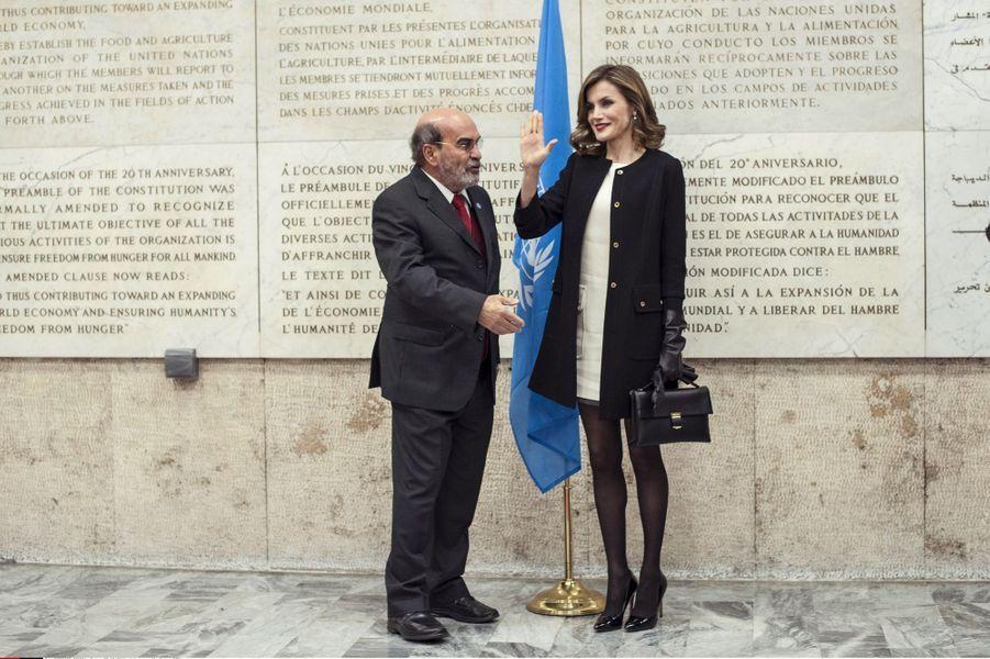 La reine Letizia d'Espagne avec le directeur général de la FAO à Rome, le 2 décembre 2016