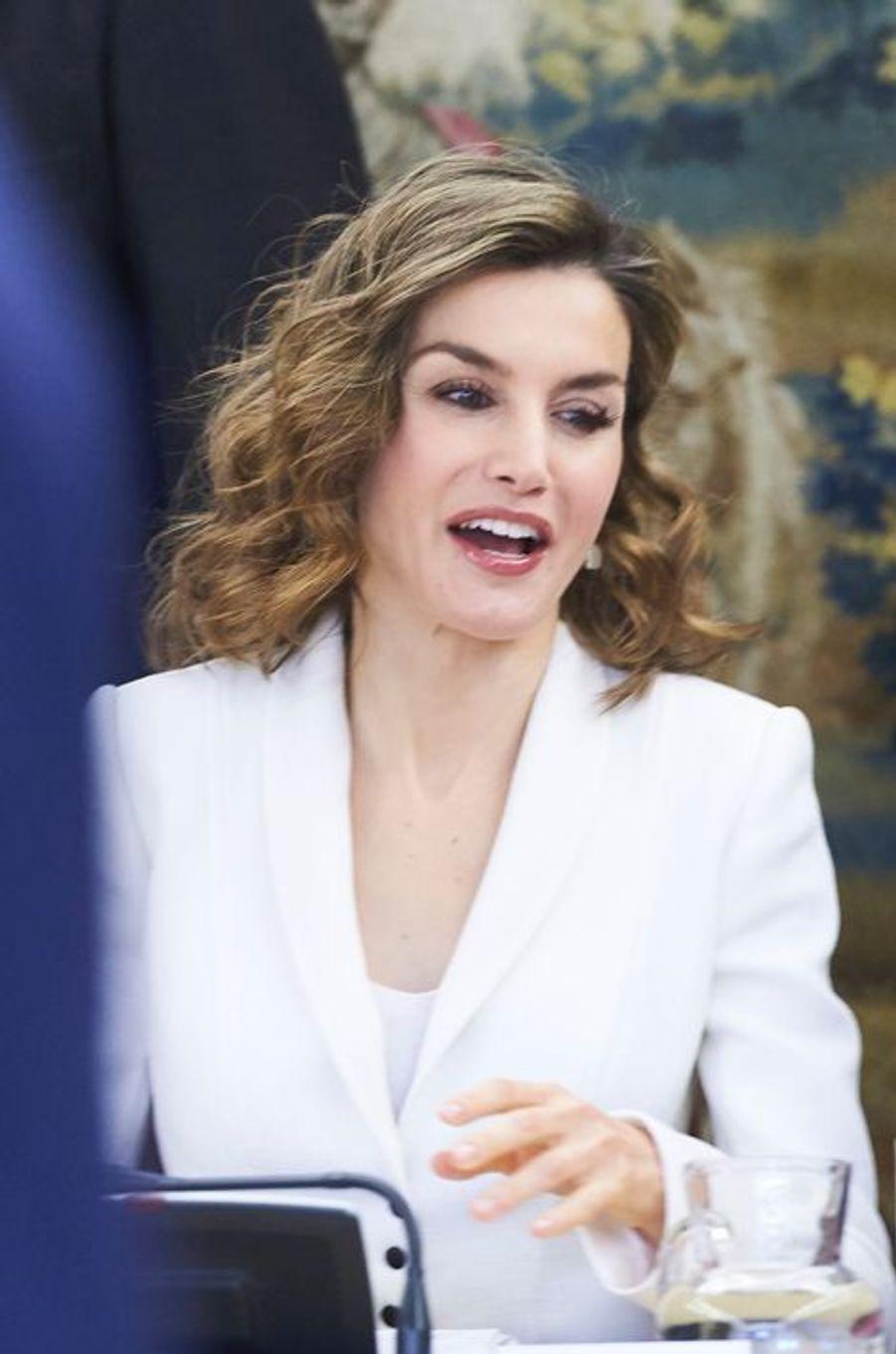 La reine Letizia d'Espagne au palais de la Zarzuela à Madrid, le 14 avril 2016