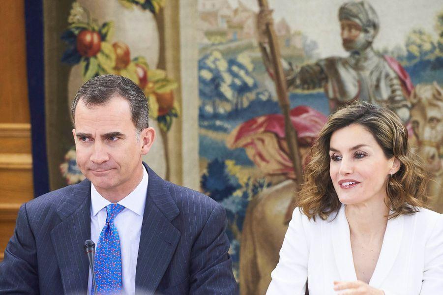 La reine Letizia et le roi Felipe VI d'Espagne au palais de la Zarzuela à Madrid, le 14 avril 2016