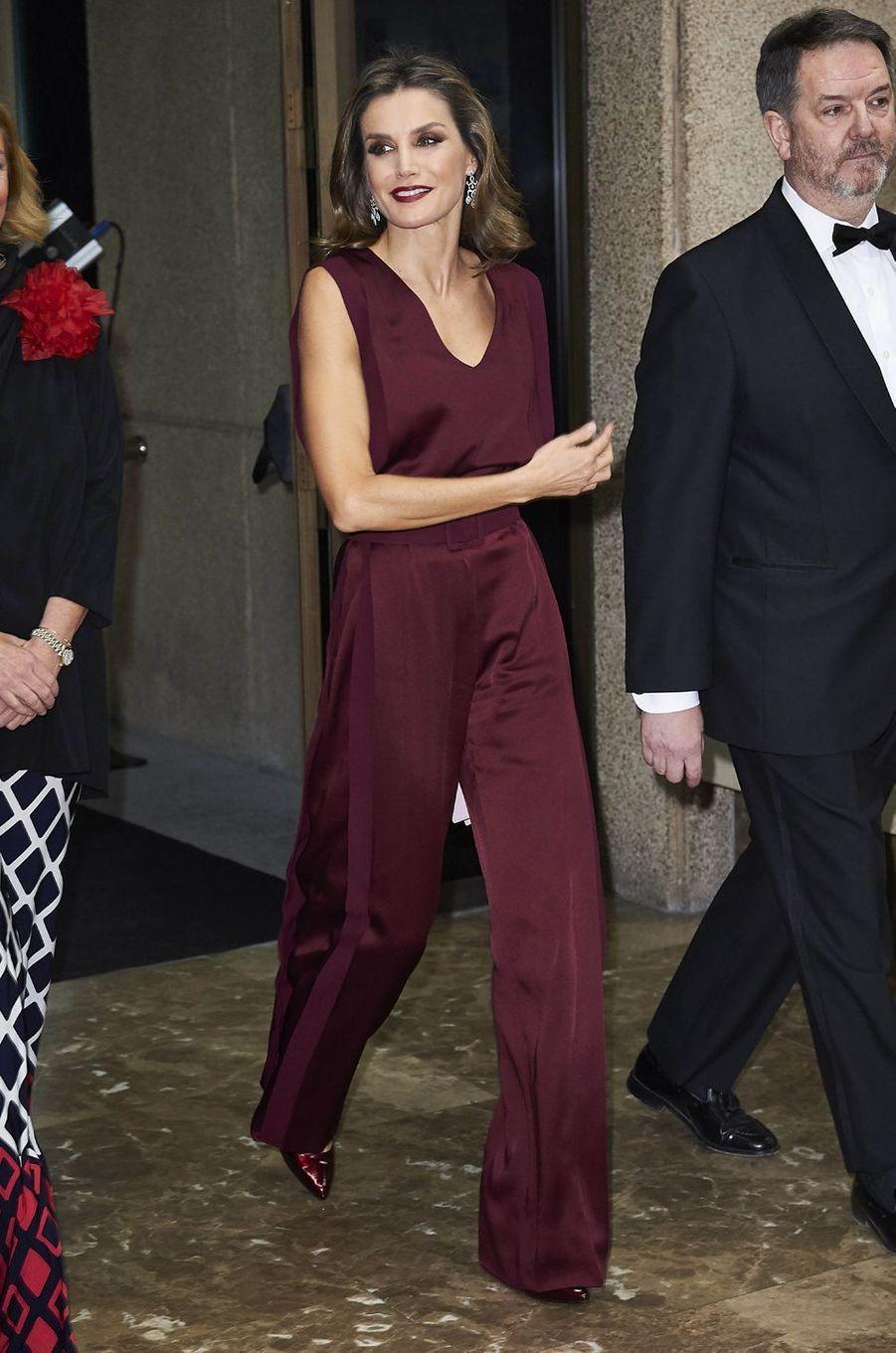 La reine Letizia d'Espagne à Madrid, le 26 octobre 2017