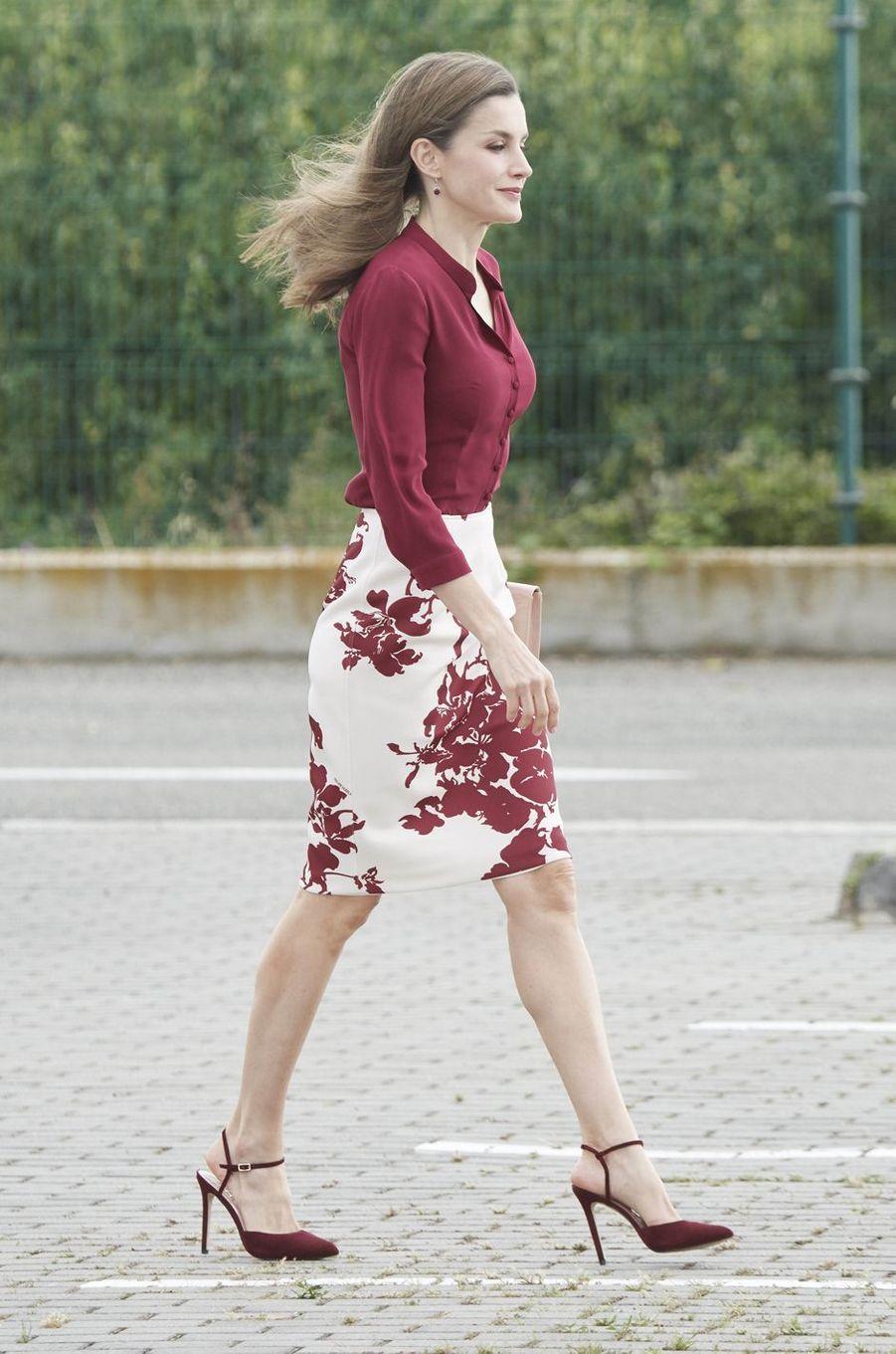 La reine Letizia d'Espagne à San Adrian, le 6 juin 2017
