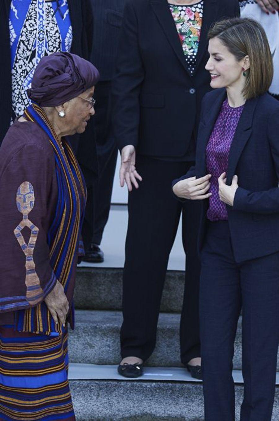 La reine Letizia d'Espagne et la présidente du Libéria Ellen Johnson-Sirleaf à Madrid, le 16 novembre 2015