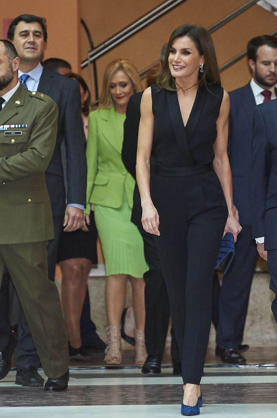 La reine Letizia d'Espagne à Madrid, le 18 avril 2018