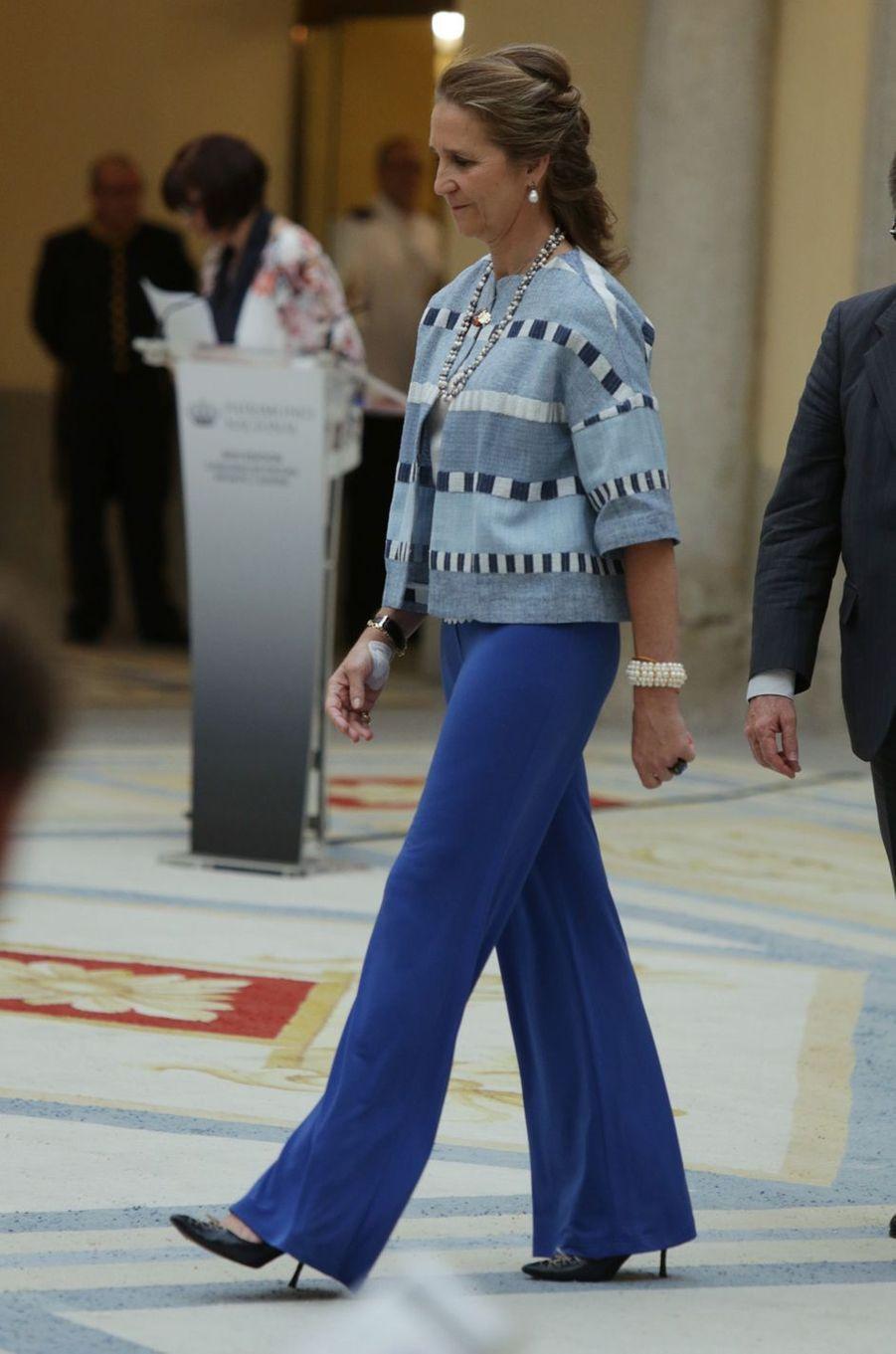 La princesse Elena d'Espagne au palais du Pardo à Madrid, le 8 juin 2017