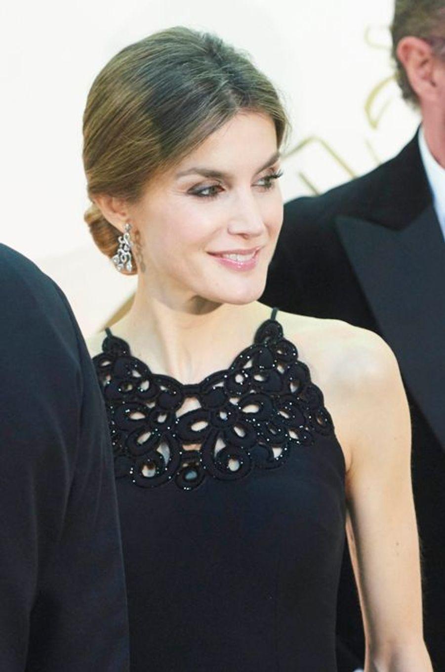 La reine Letizia d'Espagne à Madrid, le 10 décembre 2015