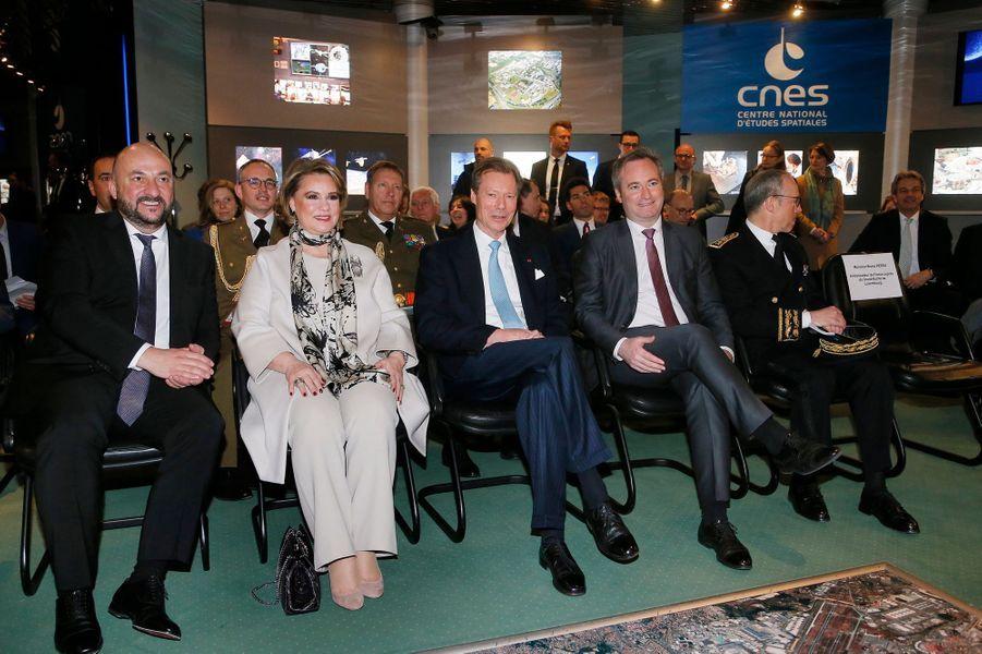 La grande-duchesse Maria Teresa et le grand-duc Henri de Luxembourg au CNES à Toulouse, le 21 mars 2018