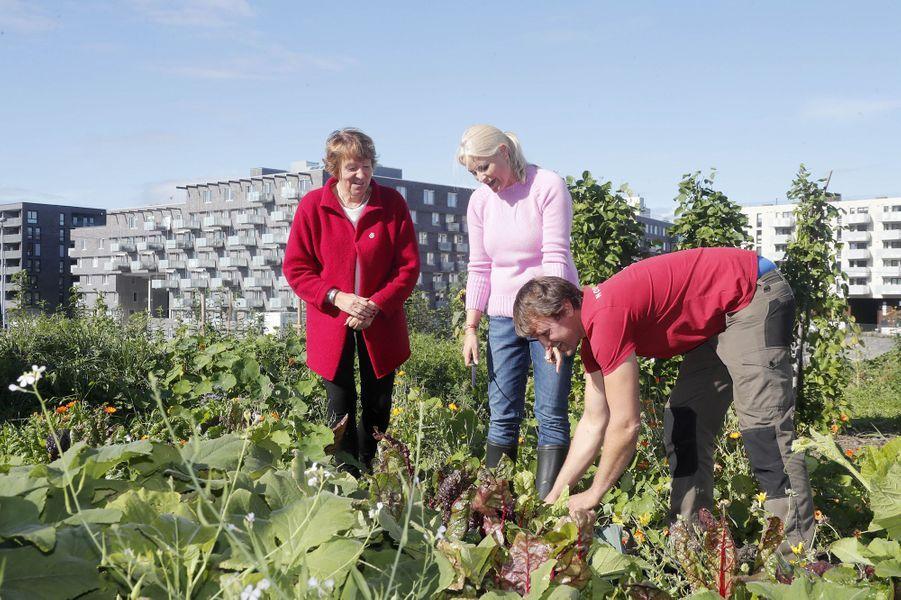 La princesse Mette-Marit de Norvège visite une ferme urbaine à Oslo, le 15 septembre 2017