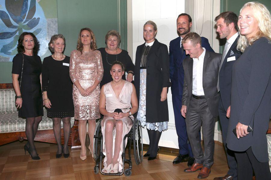 La princesse Mette-Marit et le prince Haakon de Norvège à la réception pour les champions olympiques et paralympiques des JO de Rio à Oslo, le 14 octobre 2016