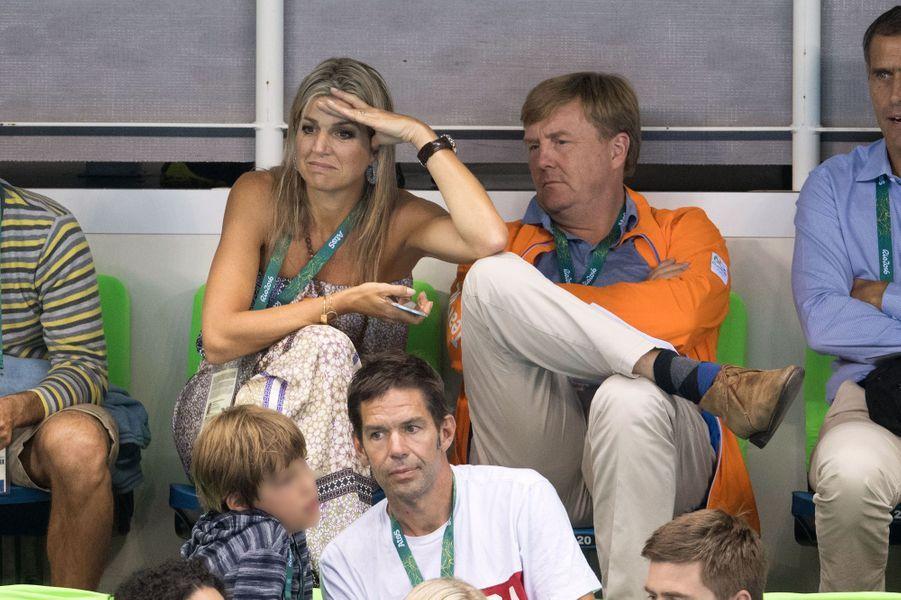 La reine Maxima et le roi Willem-Alexander des Pays-Bas aux JO de Rio, le 13 août 2016