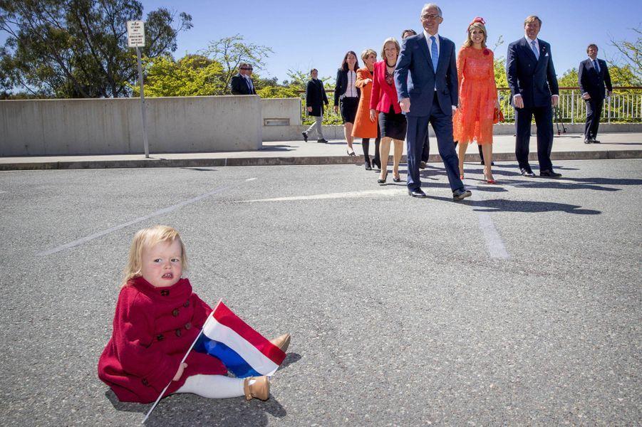 La reine Maxima et le roi Willem-Alexander des Pays-Bas à Canberra en Australie, le 2 novembre 2016