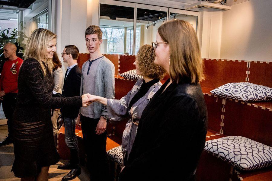 La reine Maxima des Pays-Bas fait sa rentrée à Rotterdam, le 11 janvier 2018