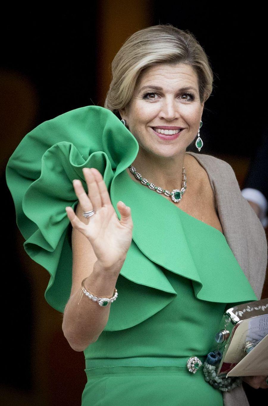 La reine Maxima des Pays-Bas devant le Palais Noordeinde à La Haye, le 13 septembre 2017