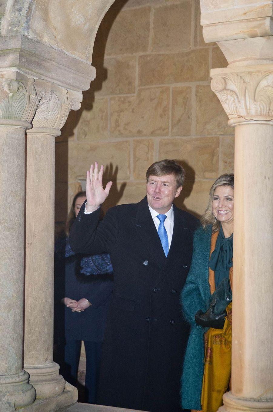 La reine Maxima et le roi Willem-Alexander des Pays-Bas au château de la Wartbourg en Allemagne, le 7 février 2017