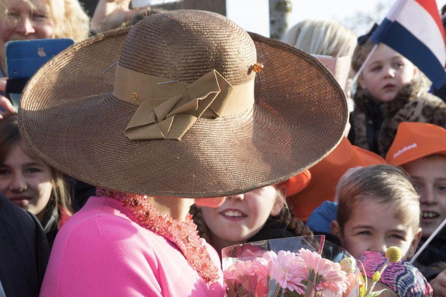 Le chapeau de la reine Maxima des Pays-Bas dans le Krimpenerwaard, le 21 février 2017