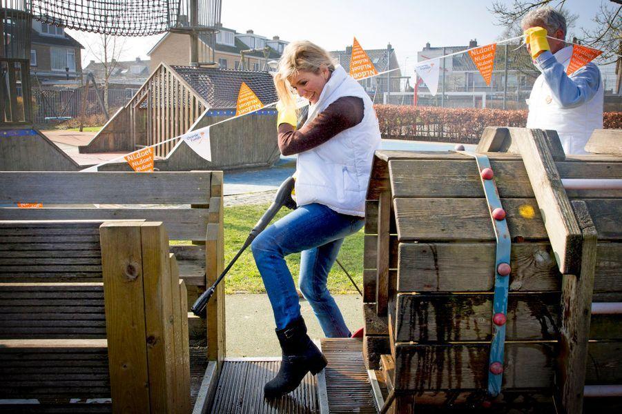 La reine Maxima des Pays-Bas à Alphen-sur-le-Rhin, le 12 mars 2016