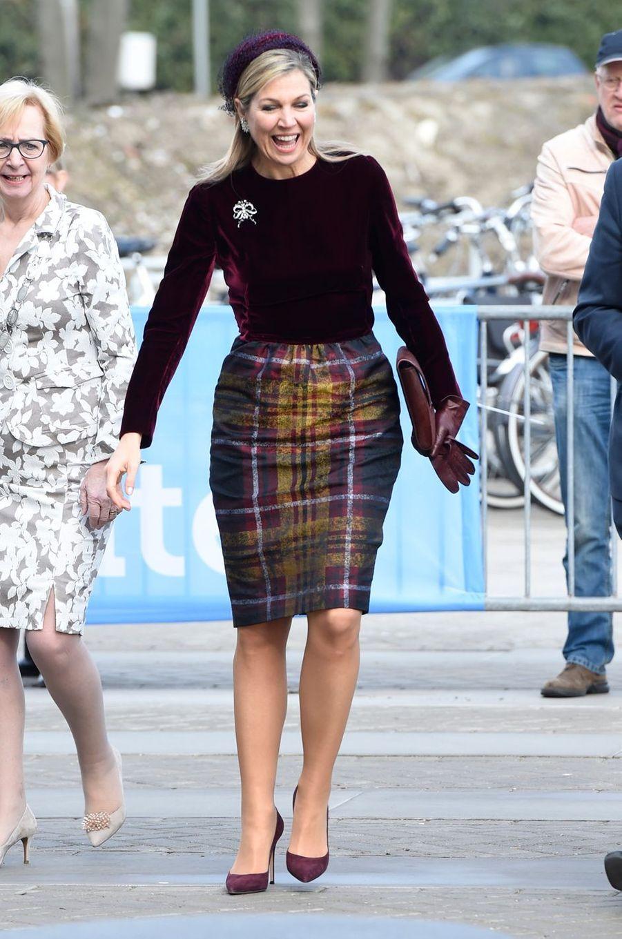 La reine Maxima des Pays-Bas dans une robe Natan à Westland, le 7 mars 2018