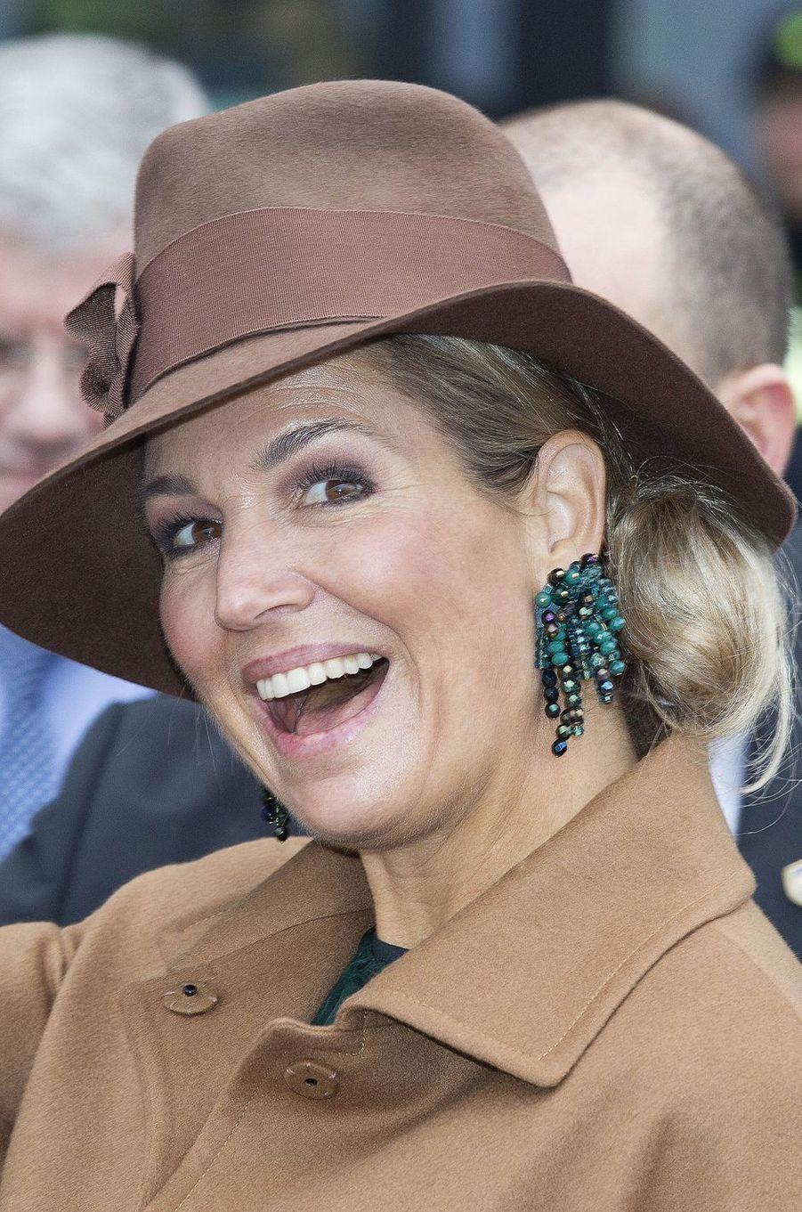 La reine Maxima des Pays-Bas coiffée d'un fedora à Utrecht, le 24 janvier 2017