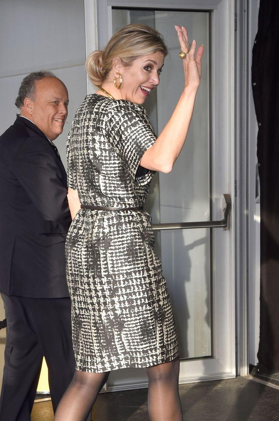 La reine Maxima des Pays-Bas en robe Natan à Katwijk, le 26 septembre 2016