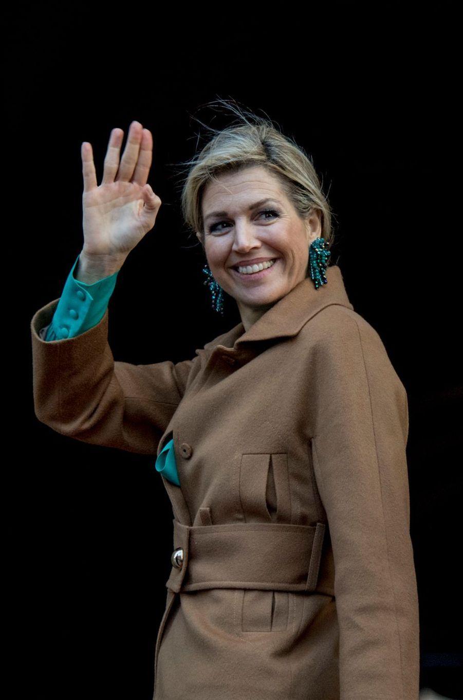 La reine Maxima des Pays-Bas arrive au Palais royal à Amsterdam, le 28 novembre 2017