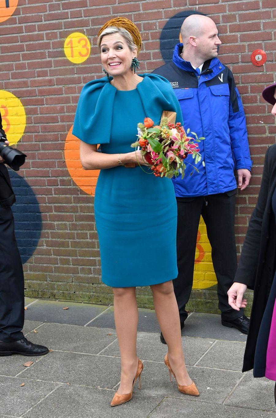 La reine Maxima des Pays-Bas en visite dans la région de Noordoost Twente, le 27 octobre 2016