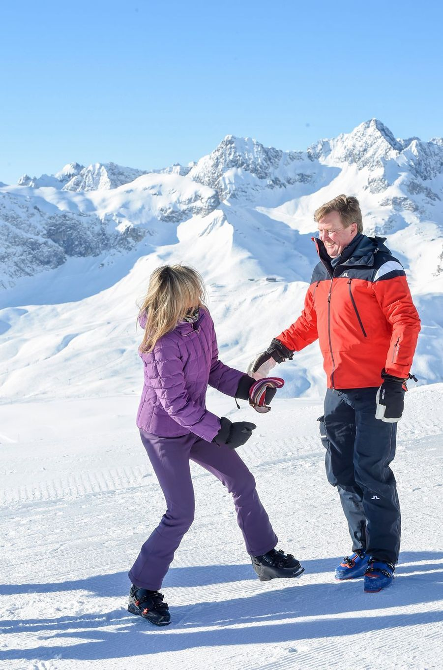 La reine Maxima et le roi Willem-Alexander des Pays-Bas à Lech, le 26 février 2018