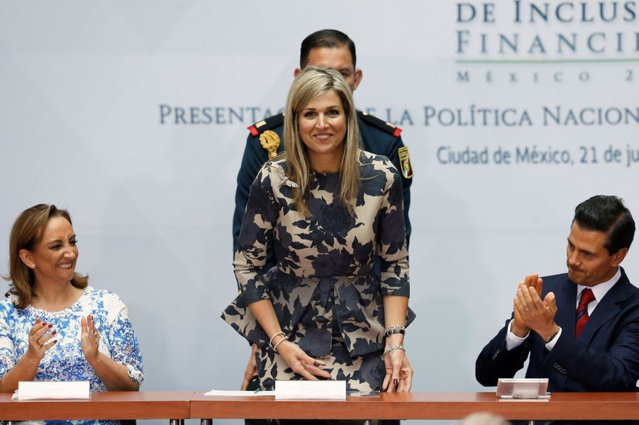 La reine Maxima des Pays-Bas avec Claudia Ruiz Massieu et  Enrique Pena Nieto à Mexico, le 21 juin 2016