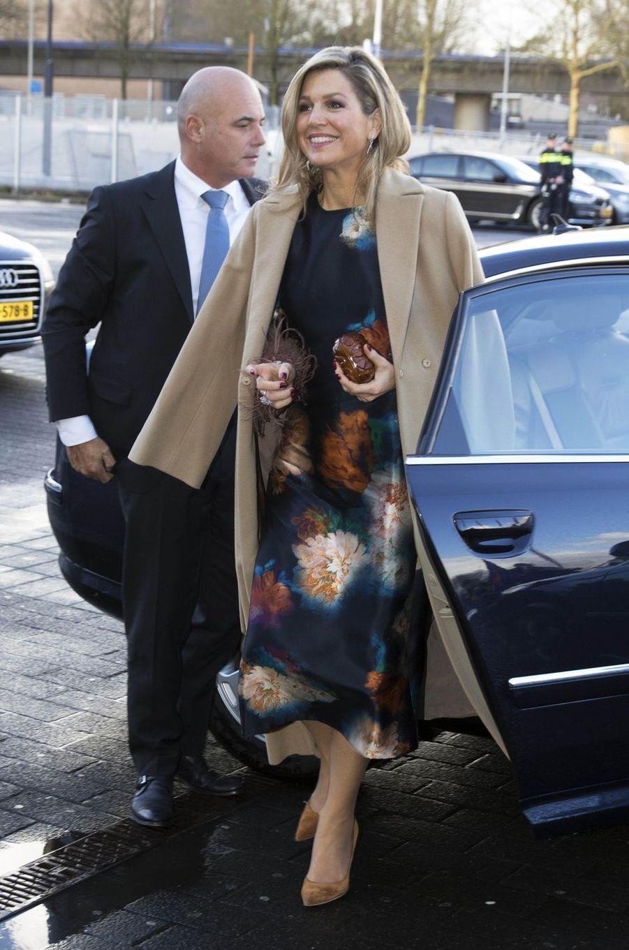 La reine Maxima des Pays-Bas arrive à la Ahoy Rotterdam, le 14 décembre 2017
