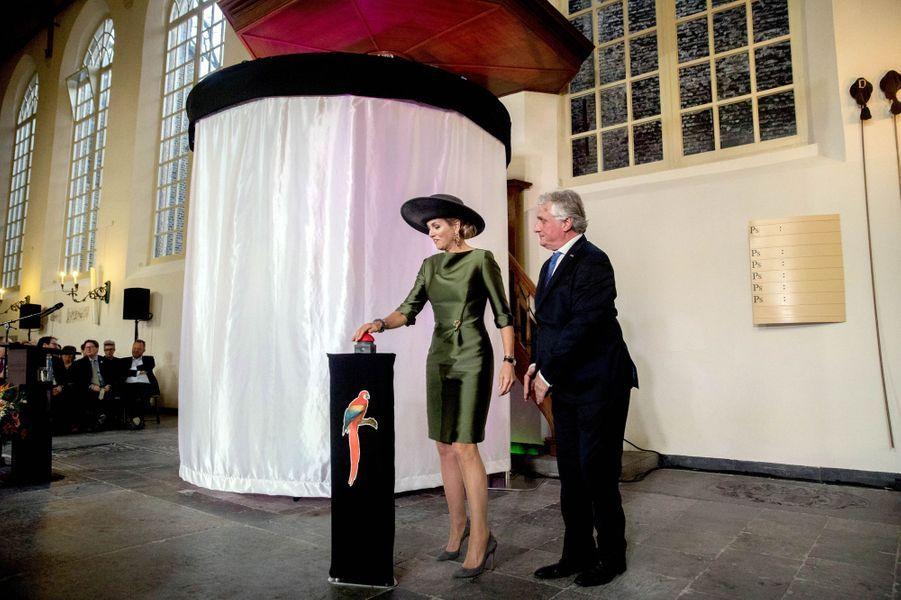 """La reine Maxima des Pays-Bas inaugure l'exposition """"Paradis royal"""" à Dordrecht, le 17 février 2017"""