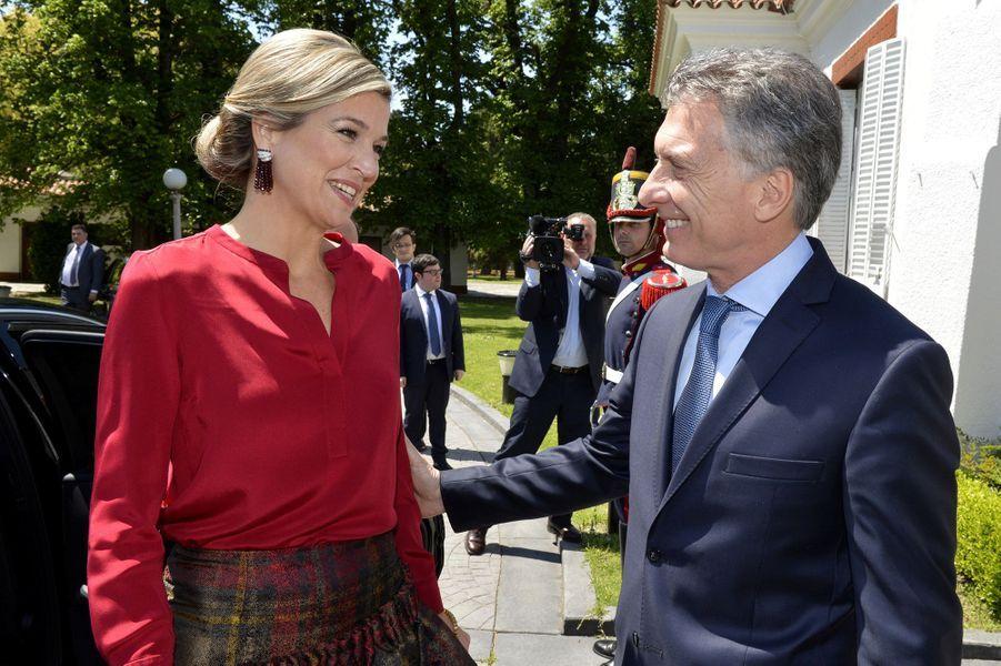 La reine Maxima des Pays-Bas et le président argentin Mauricio Macri à Buenos-Aires, le 12 octobre 2016