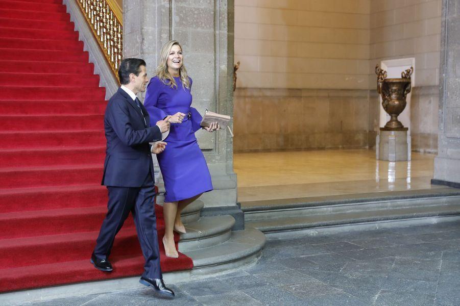 La reine Maxima des Pays-Bas avec le président mexicain à Mexico, le 7 septembre 2017