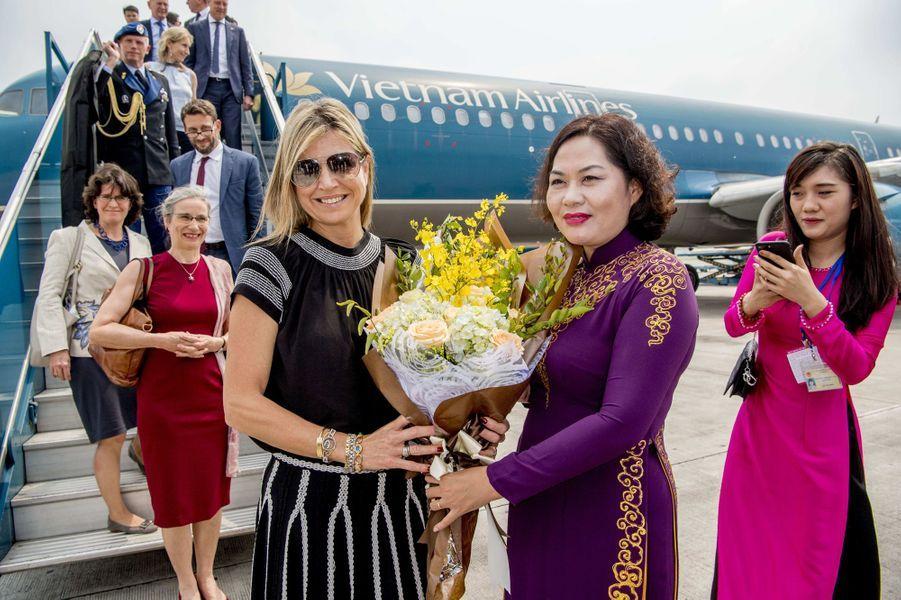 La reine Maxima des Pays-Bas à son arrivée à Hanoï, le 31 mai 2017