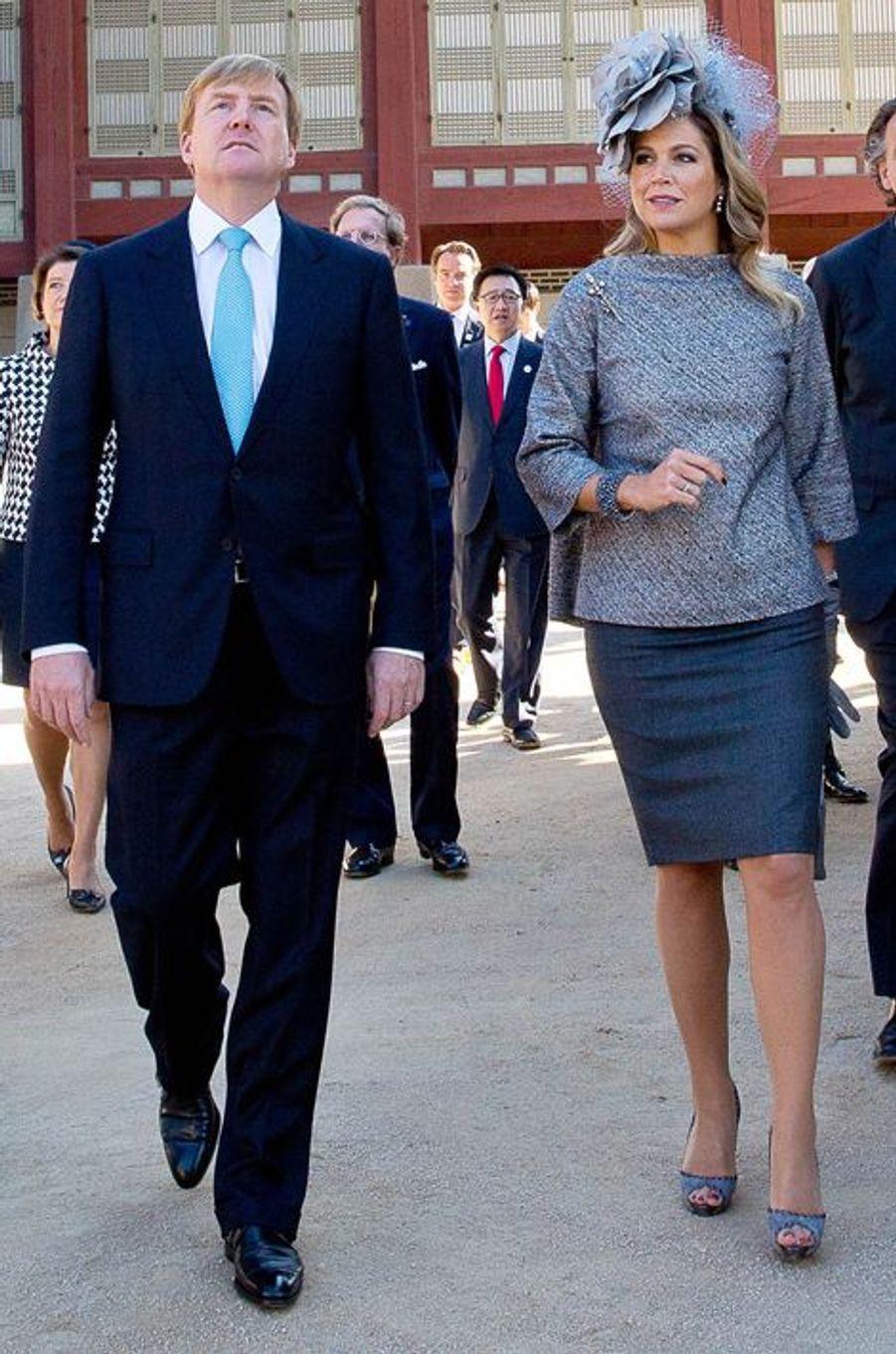 La reine Maxima, avec le roi Willem-Alexander des Pays-Bas, le 4 novembre 2014