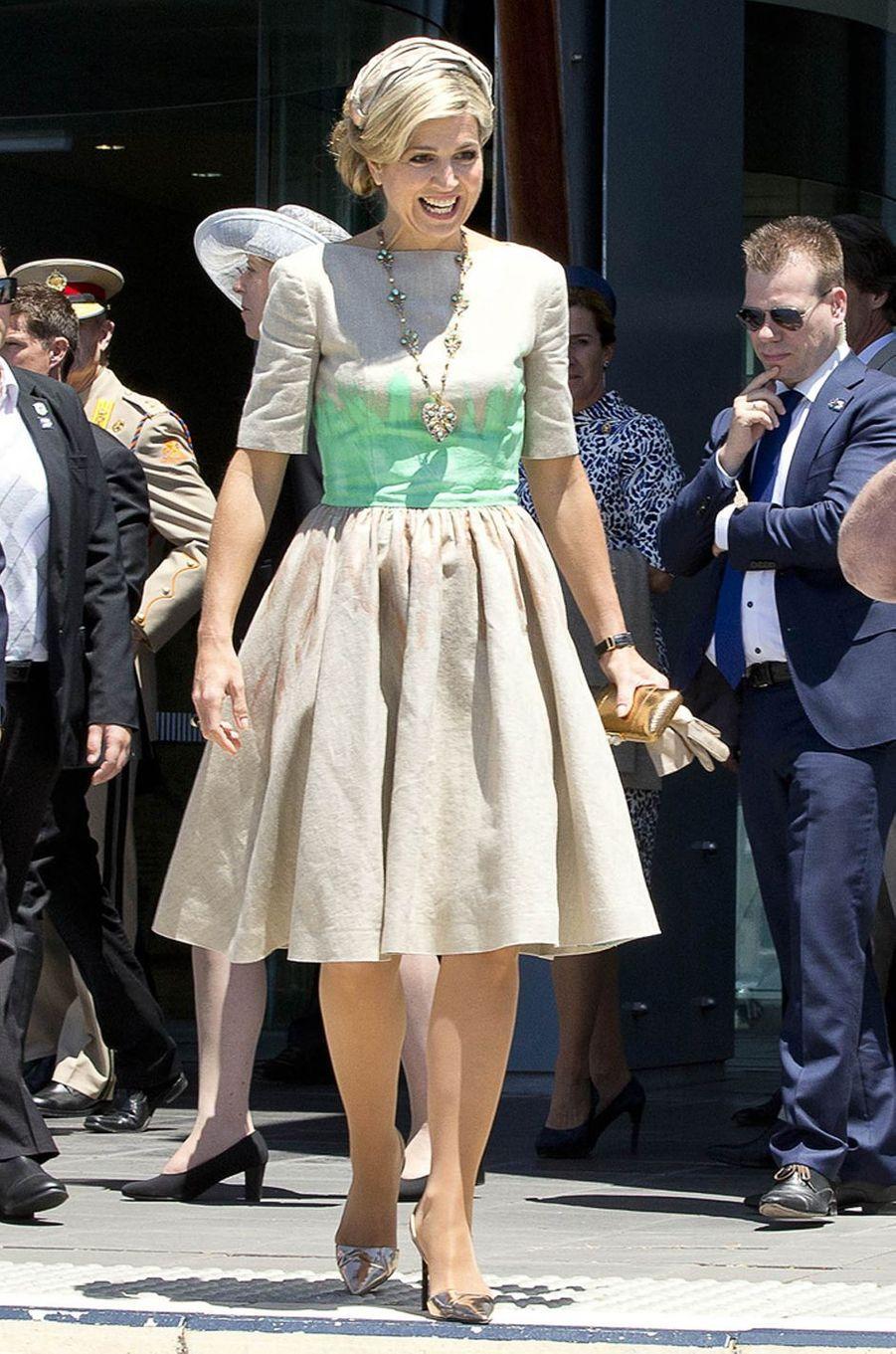 La reine Maxima des Pays-Bas dans une robe Mattijs Van Bergen à Perth, le 31 octobre 2016