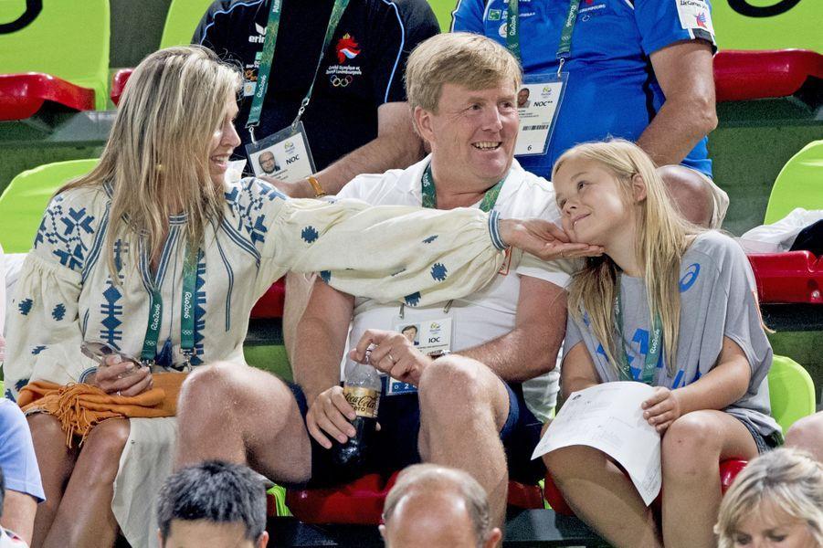 La reine Maxima et le roi Willem-Alexander des Pays-Bas avec leur fille Ariane aux JO de Rio, le 15 août 2016