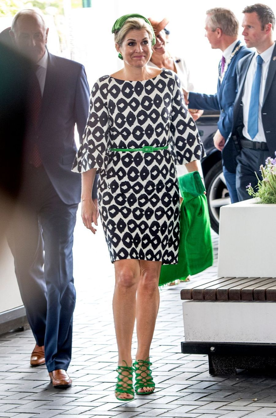 La reine Maxima des Pays-Bas en robe graphique Natan à Amsterdam, le 26 juin 2017