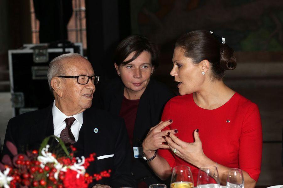 La princesse Victoria avec le président tunisien Béji Caïd Essebsi à Stockholm, le 5 novembre 2015