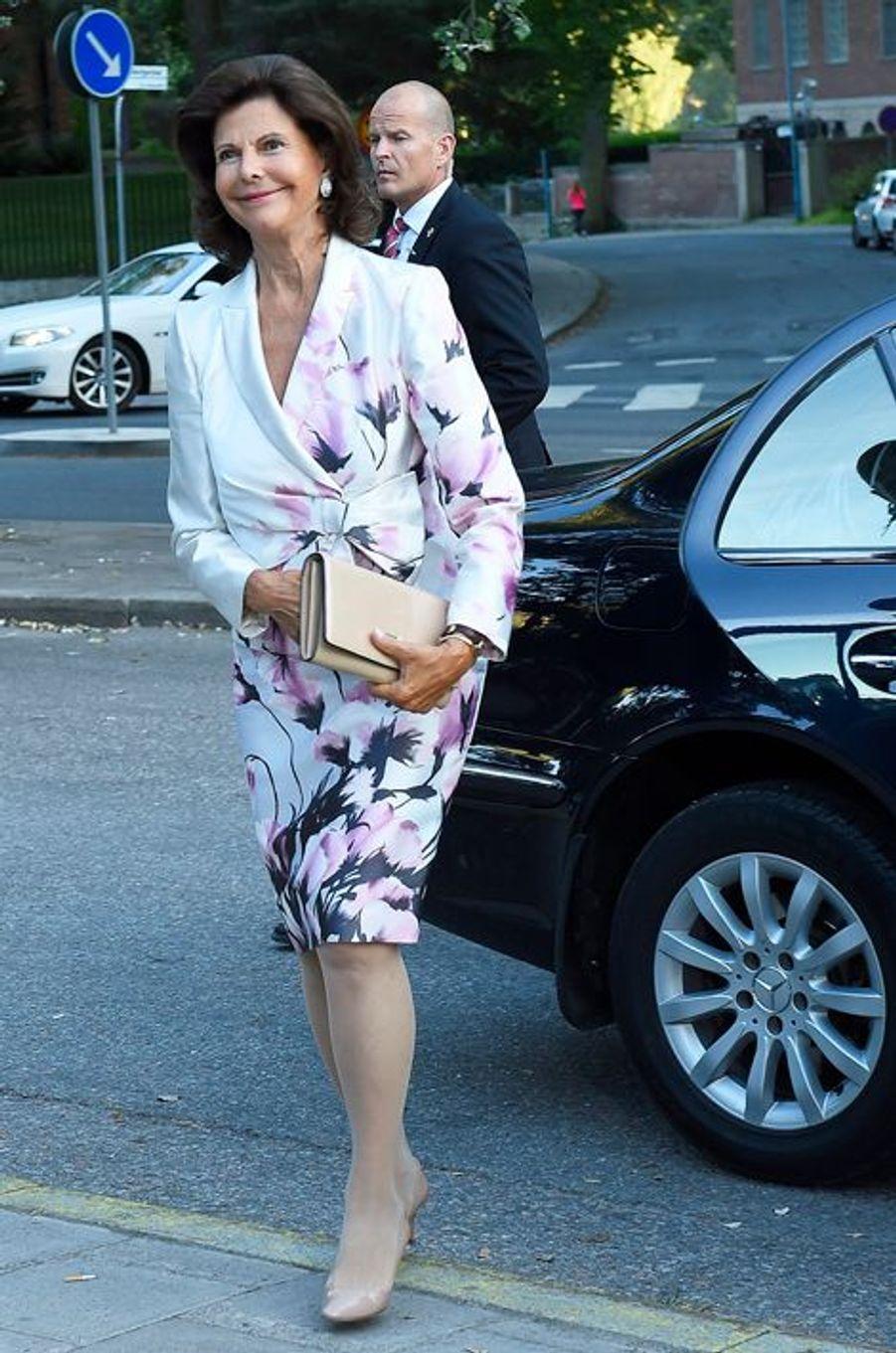 La reine Silvia de Suède à Stockholm, le 21 août 2015