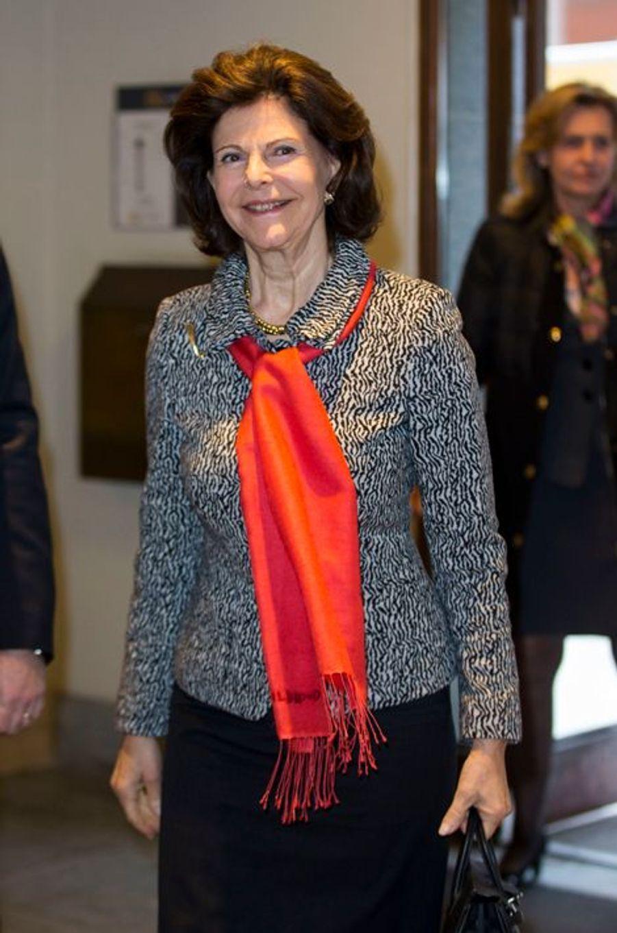 La reine Silvia de Suède à Stockholm, le 15 février 2016