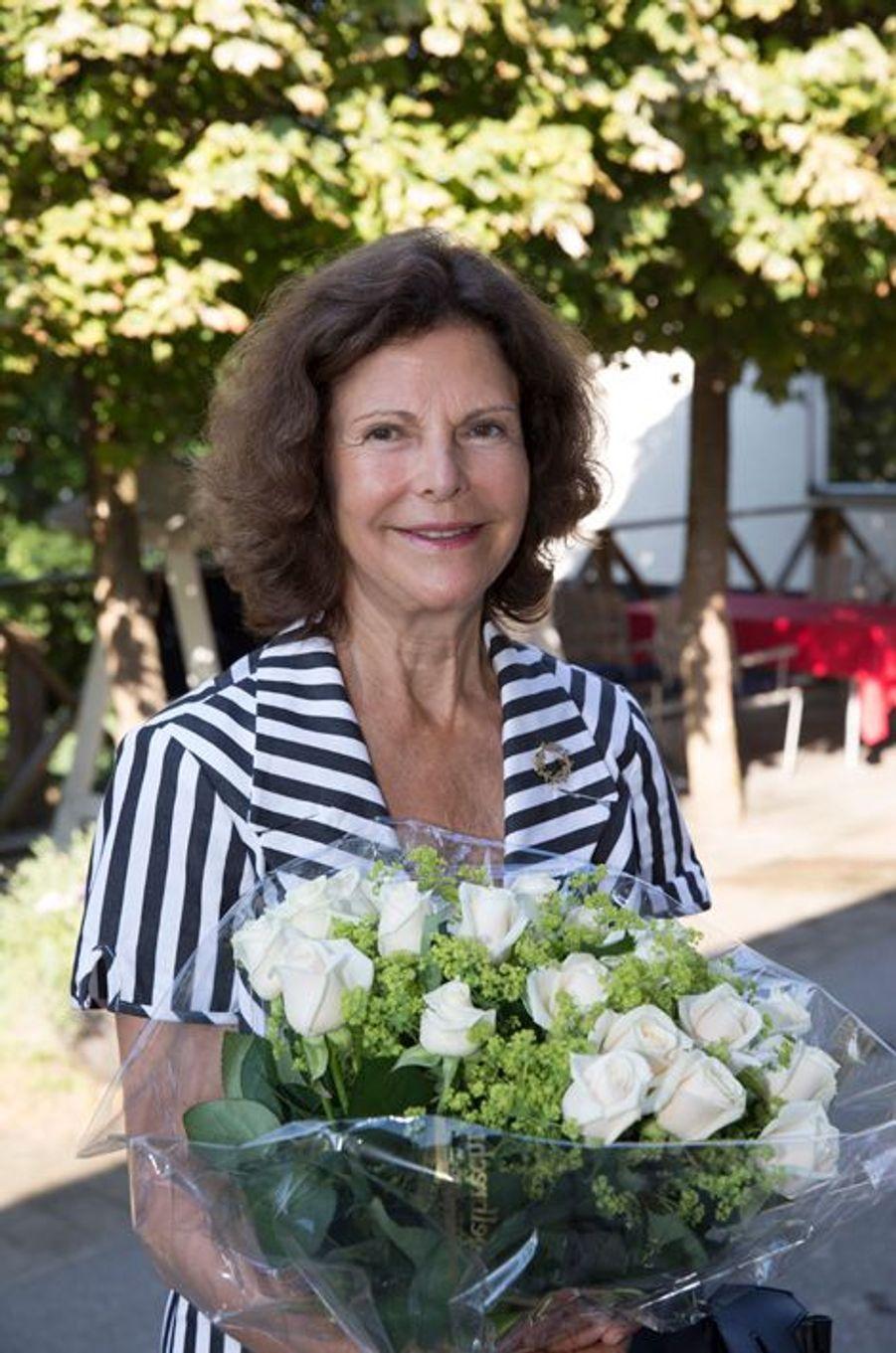 La reine Silvia de Suède à la Silviahemmet à Drottningholm, le 24 août 2015